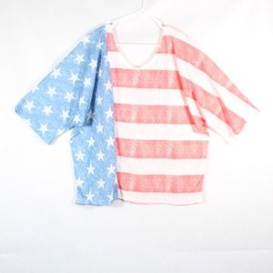 Womens American Flag Relaxed Fit 3/4 Sleeve XXL